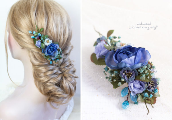 Haarschmuck Blumen Blau-06