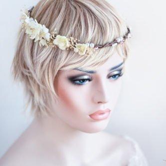 Hadice II Haarkranz Tiara Hochzeit Blumen Perlen Braut-25
