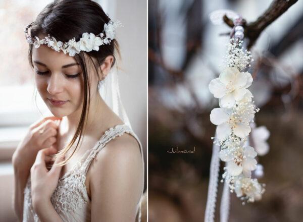 Hadice II Haarkranz Tiara Hochzeit Blumen Perlen Braut-40