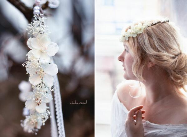Hadice II Haarkranz Tiara Hochzeit Blumen Perlen Braut-41