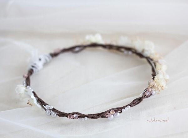 Hadice II Haarkranz Tiara Hochzeit Blumen Perlen Braut-42