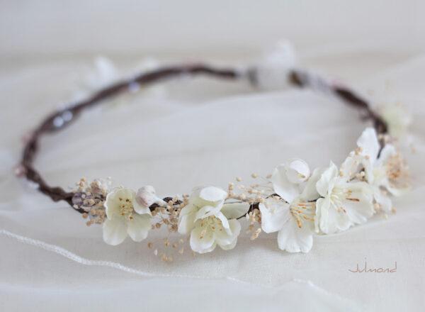 Hadice II Haarkranz Tiara Hochzeit Blumen Perlen Braut-43