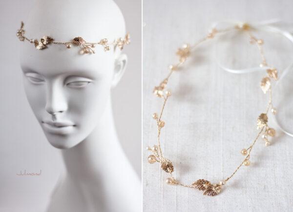 Ivana II Haarschmuck Braut Elfenkrone Diadem Perlen Haarband-12