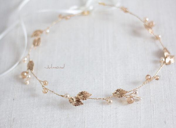 Ivana II Haarschmuck Braut Elfenkrone Diadem Perlen Haarband-13