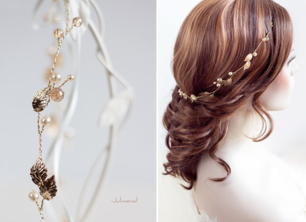 Ivana II Haarschmuck Braut Elfenkrone Diadem Perlen Haarband-14