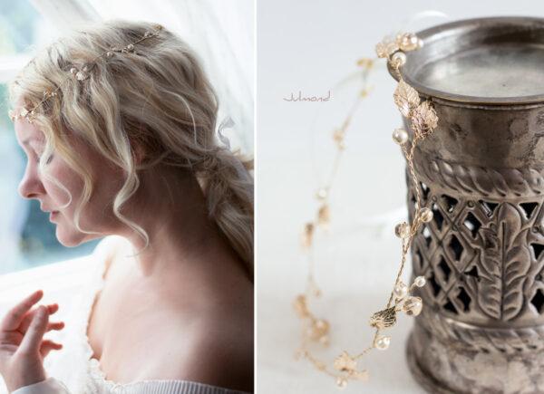 Ivana II Haarschmuck Braut Elfenkrone Diadem Perlen Haarband-15