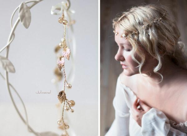 Ivana II Haarschmuck Braut Elfenkrone Diadem Perlen Haarband-21