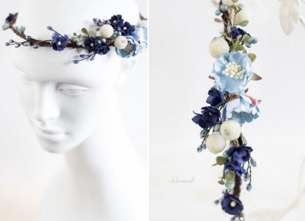 Laguna Hochzeit Haarband Blumen Blau Blumenkranz-05