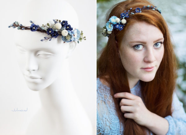 Laguna Hochzeit Haarband Blumen Blau Blumenkranz-06