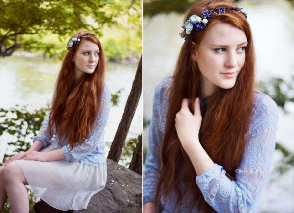 Laguna Hochzeit Haarband Blumen Blau Blumenkranz-07