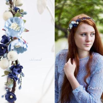 Laguna Hochzeit Haarband Blumen Blau Blumenkranz-08