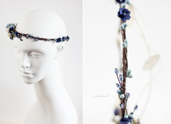 Laguna Hochzeit Haarband Blumen Blau Blumenkranz-09