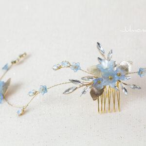 Lucila Braut Haarschmuck Blau Diadem-06