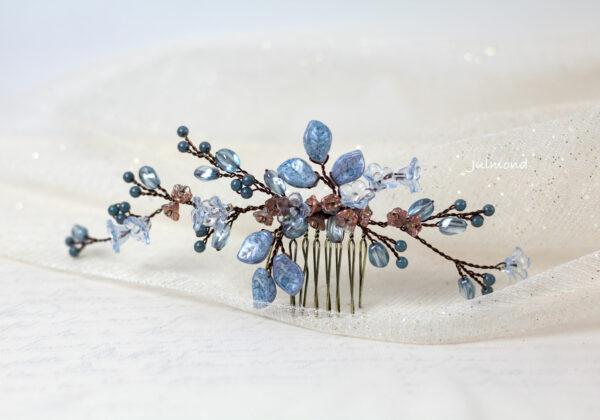 Madita Haarschmuck Blau Hochzeit Haarkamm Perlen-10