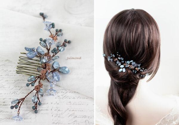 Madita Haarschmuck Blau Hochzeit Haarkamm Perlen-11