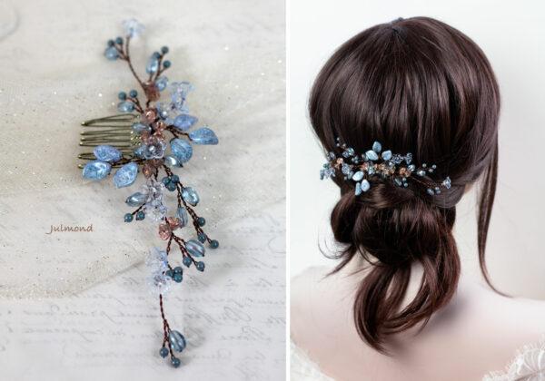 Madita Haarschmuck Blau Hochzeit Haarkamm Perlen-12