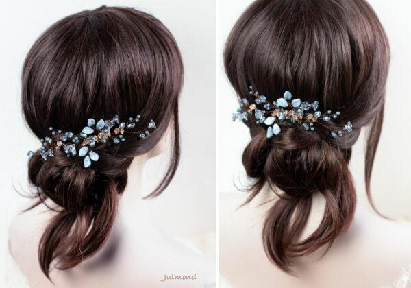 Madita Haarschmuck Blau Hochzeit Haarkamm Perlen-13