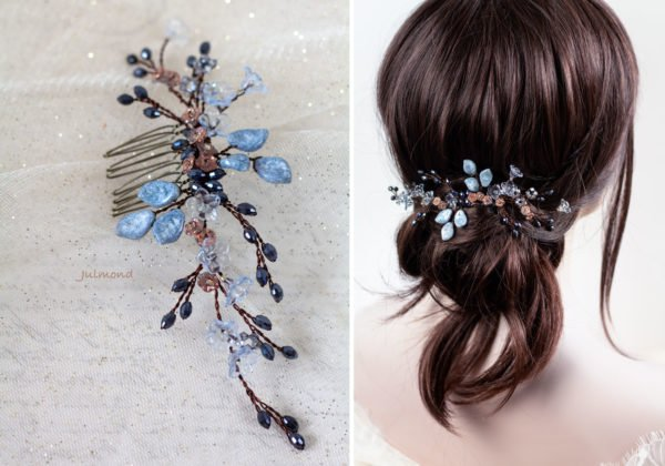 Madita Haarschmuck Blau Hochzeit Haarkamm Perlen-14