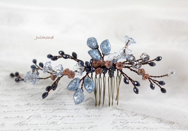 Madita Haarschmuck Blau Hochzeit Haarkamm Perlen-15