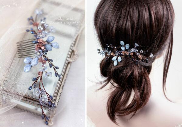 Madita Haarschmuck Blau Hochzeit Haarkamm Perlen-20