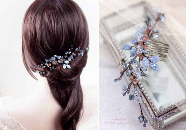 Madita Haarschmuck Blau Hochzeit Haarkamm Perlen-21