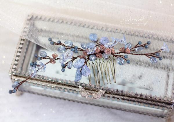 Madita Haarschmuck Blau Hochzeit Haarkamm Perlen-22