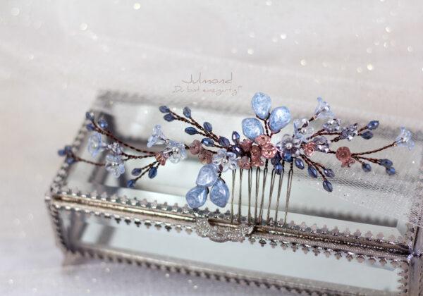 Madita Haarschmuck Blau Hochzeit Haarkamm Perlen-23