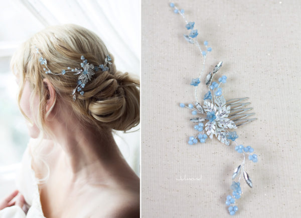 Manel Braut Haarschmuck Blau Haarkamm-01