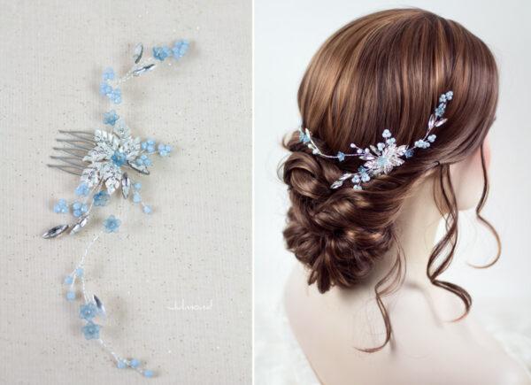 Manel Braut Haarschmuck Blau Haarkamm-02