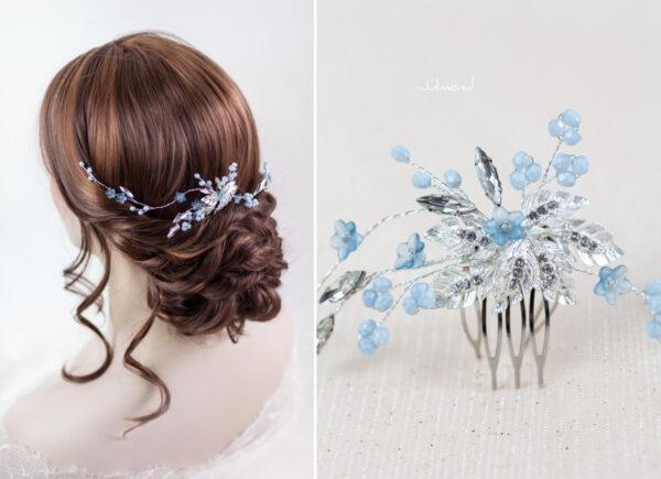 Manel Braut Haarschmuck Blau Haarkamm-03