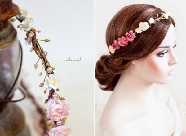 Nelda Haarband Blumen Perlen Braut Haarschmuck-01