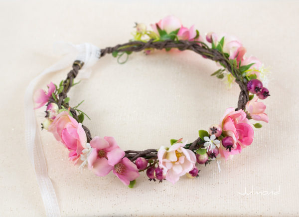 Niloa Blumenkranz Blumen Rosé Hochzeit Haarband-11