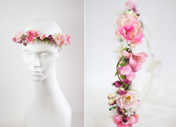 Niloa Blumenkranz Blumen Rosé Hochzeit Haarband-12
