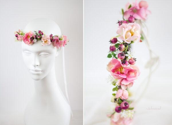 Niloa Blumenkranz Blumen Rosé Hochzeit Haarband-13
