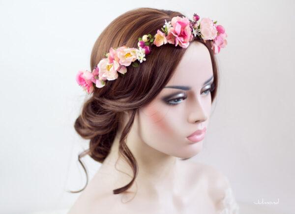 Niloa Blumenkranz Blumen Rosé Hochzeit Haarband-14