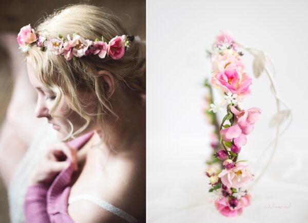 Niloa Blumenkranz Blumen Rosé Hochzeit Haarband-15