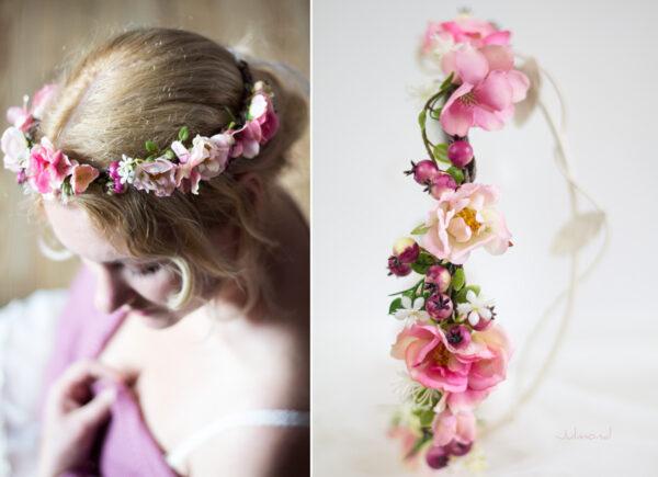Niloa Blumenkranz Blumen Rosé Hochzeit Haarband-16