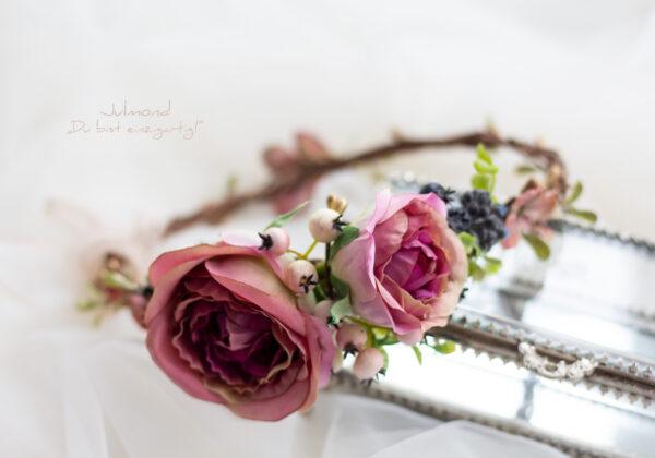 Sila Haarkranz Blumen Rosa-06