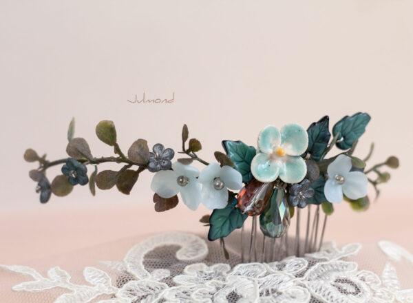 Soela Haarschmuck Braut Perlen Blau Haarkamm-01