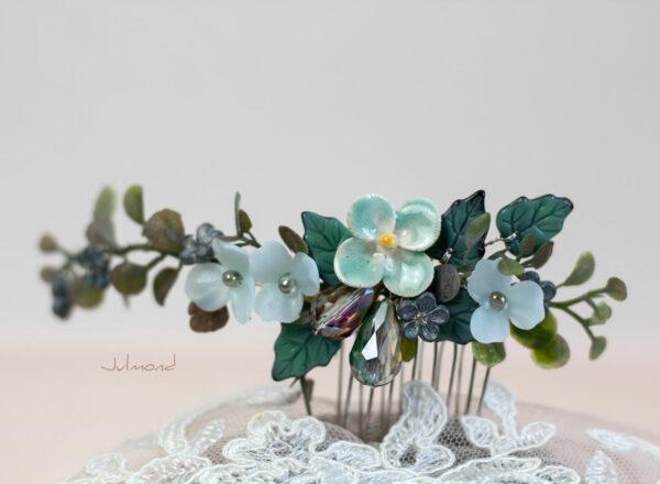 Soela Haarschmuck Braut Perlen Blau Haarkamm-02