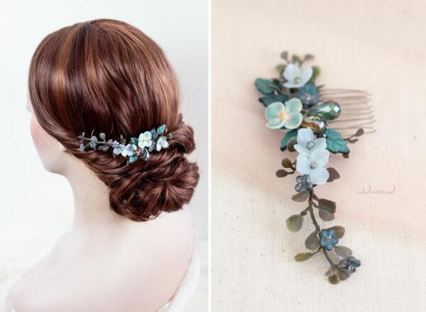 Soela Haarschmuck Braut Perlen Blau Haarkamm-03