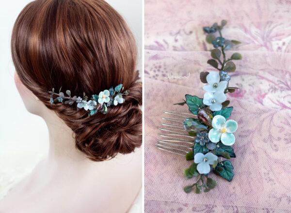Soela Haarschmuck Braut Perlen Blau Haarkamm-04