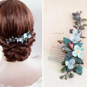 Soela Haarschmuck Braut Perlen Blau Haarkamm-05
