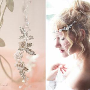 Taliena II Hochzeit Silber Tiara Haarband Haarschmuck-10