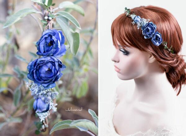 Teona Haarkranz Blumen blau Blumenkranz Haarschmuck-10