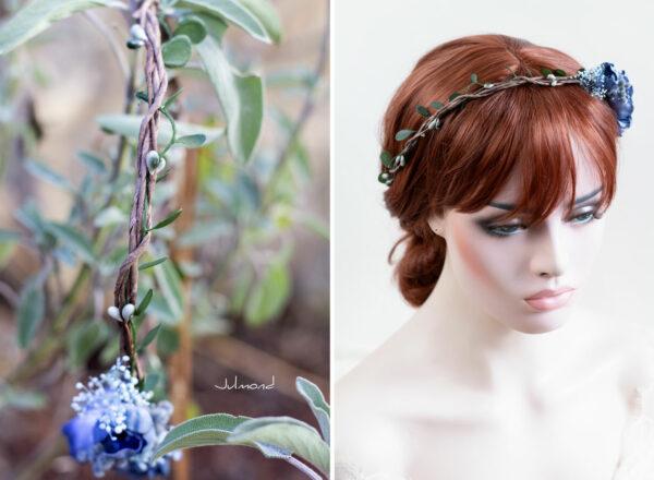 Teona Haarkranz Blumen blau Blumenkranz Haarschmuck-11