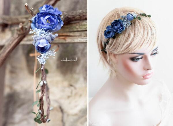 Teona Haarkranz Blumen blau Blumenkranz Haarschmuck-12