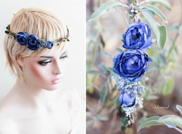 Teona Haarkranz Blumen blau Blumenkranz Haarschmuck-13