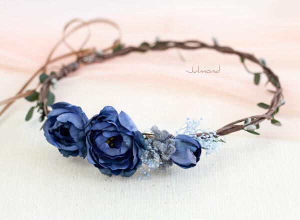 Teona Haarkranz Blumen blau Blumenkranz Haarschmuck-14