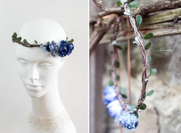 Teona Haarkranz Blumen blau Blumenkranz Haarschmuck-16